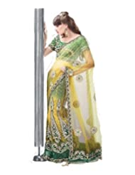 Indian Ethnic Designer Saree Green Net Exclusive By Triveni