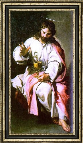 "Alonso Cano St. John the Evangelist with the Poisoned Cup - 15"" x 30"" Framed Premium Canvas Print"