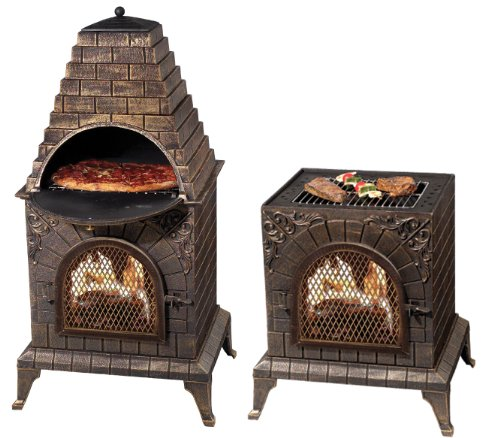 Deeco-DM-0039-IA-C-Aztec-Allure-Cast-Iron-Pizza-Oven-Chiminea