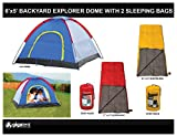 Kids Blue Camping Bundle Set Including 6x5 Dome Tent w/ Dew Protector: Sleeps 2-3 Children and Comes with 2 Sleeping Bags w/ Pouches