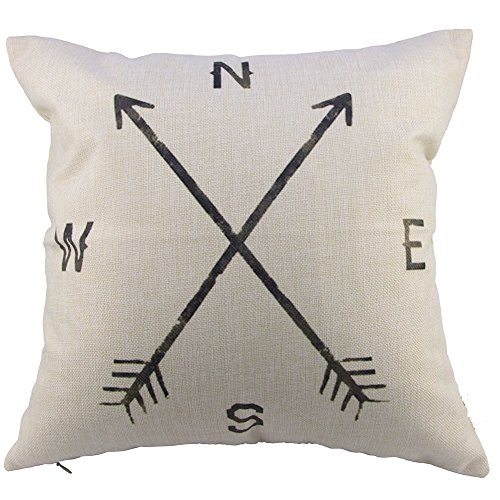 "decorbox Retro Cotton Linen Throw Compass Cushion Cover Pillowcase 18 ""X18 "" 45cm*45cm, Compass"