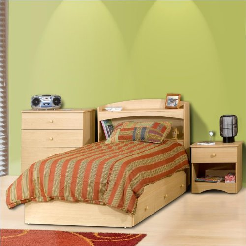 Nexera Alegria Twin Captain'S Bed 3 Piece Bedroom Set In Natural Maple front-592776