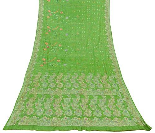 tessuto-vintage-indiano-ricamato-100-pura-seta-verde-saree-etnica-sari-craft