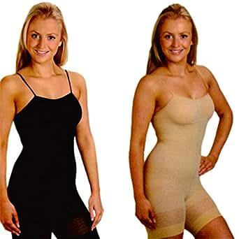 Full Body Shaper Slimmer Control Bodysuit 2 Pack Black Nude Size 14 16 18 20 (XXL 18-20)