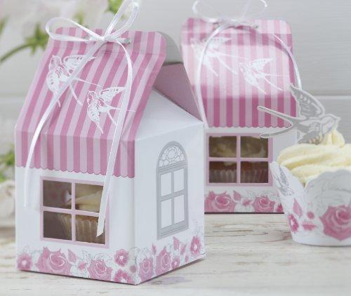 Ginger Ray Single Rose & Swallow Vintage Cupcake Boxes (5 Pk) - Enchanted Rose