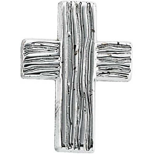 14K White Gold Rugged Cross Pin