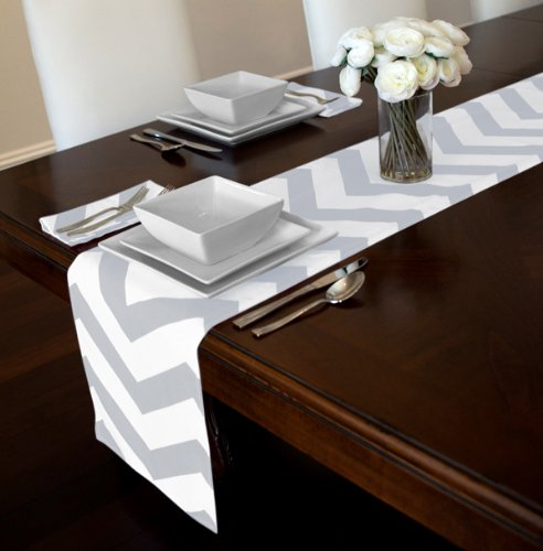 "Grey And White Chevron Zigzag Table Runner (12"" X 90"")"