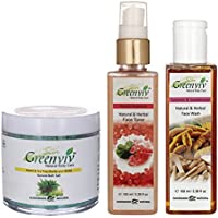 Greenviv Natural Combo Of Neem & Tea Tree Bath Salt (100 Gm), Rose & Geranium Face Toner (100 Ml) With Turmeric...