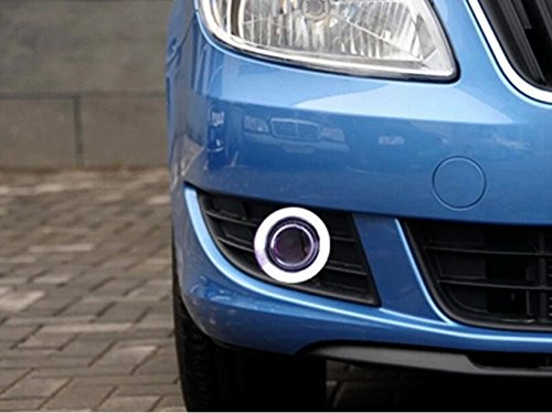 AupTech Angel Eye Fog Light DRL for 2012-2014 Skoda Fabia eosuns innovative cob angel eye led daytime running light drl halogen fog light projector lens for chevrolet aveo sonic 2014