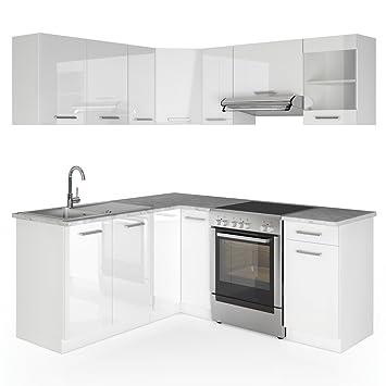 Winkelkuche Kuchenzeile 190 x 170 cm - Weiß Hochglanz - Kuche in L-Form Kuchenblock Einbaukuche Komplettkuche Eckkuche - frei kombinierbare Möbel-Module
