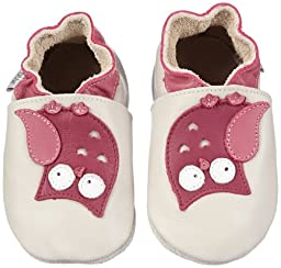 Bobux Kids Baby Girl\'s Soft Sole Owl (Infant) Milk/Rose Boot SM (3-9 Months) M