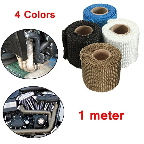 AUDEW 3ft x 2 Inch Exhaust Heat Wrap Fiberglass Heat Shield Tape for Motorcycle Protection 4 Colors Optional Black 3