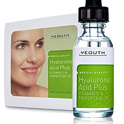 Best Cheap Deal for Best Anti Aging Vitamin C Serum with Hyaluronic Acid & Tripeptide 31 Trumps ALL Others. Maximum Percentage Vitamin-C Topical Vit C Can Make Your Face Look Ten Years Younger! 100% by YEOUTH - Free 2 Day Shipping Available
