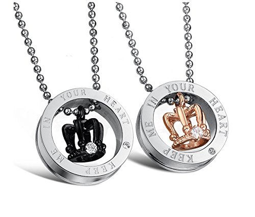 Titanium Pendant Necklace Couple Matching Set We Love Each Other Love Valentine, Packed with a Gift Box (A Pair)