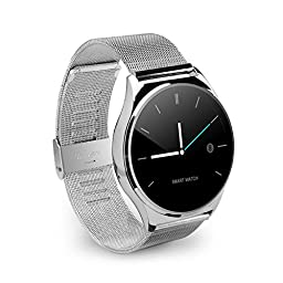 OHPA Z02 Extreme Slim Heart rate monitor HD display Bluetooth Smart Watch with Remote camer and sound for iPhone and Android Smartphones, stainless steel strap, Silver