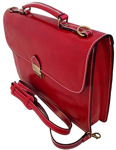 CTM Borsa Uomo da Lavoro Cartella Porta Documenti Rosso, 38x27x7cm, Vera Pelle 100% Made in Italy