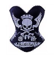 Bslingerie Womens Skull Print Rock N Roll Fashion Boned Corset from Bslingeire