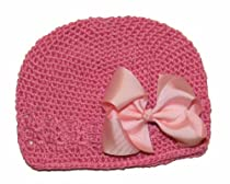 A Girl Company Bubble Gum Pink Crochet Beanie Hat with Pink Hair Bow