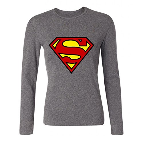 Women's WXTEE Men's Superman Logo T-shirt ForestGreen Long Sleeve T-Shirt (Super Bowl Singer compare prices)