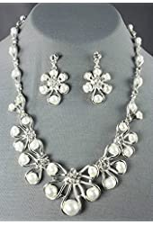 Bridesmaid Wedding Bride Sliver White Pearl Rhinestone Necklace and Earring Set