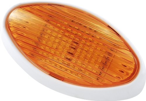 Gold Stars F3528006 Cool White RV LED Oval Porch Light (Fixture w/ Clear Amber Lens 110 or 170 LUM) (Rv Light Fixture Lens compare prices)