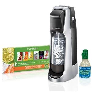 SodaStream Fountain Jet Home Soda Maker Starter Kit, Black and Silver