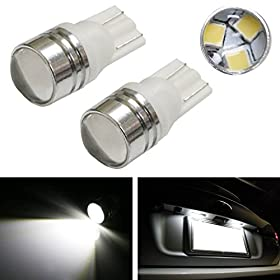 iJDMTOYu00ae (2) Xenon White 3-SMD-2835 Projector Lens 168 194 2825 W5W LED Replacement Bulbs For License Plate Lights, also Parking Position Lights, Interior Lights