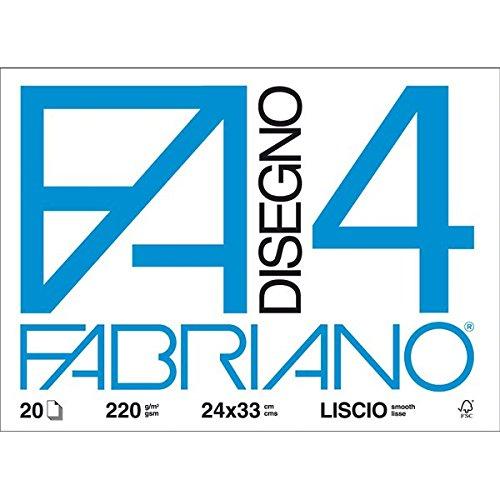 Fabriano 05200597 Disegno 4, Liscio, 24 x 33 cm, 220 G/Mq, 20 Fogli