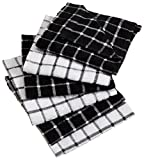 "DII Cotton Terry Windowpane Dish Cloths, 12 x 12"" Set of 6, Machine Washable and Ultra Absorbent Kitchen Bar Towels-Black"