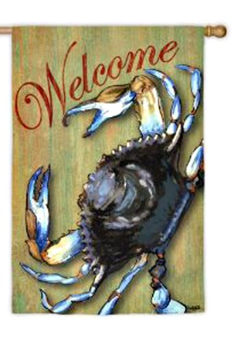 Blue Crab Welcome House Flag