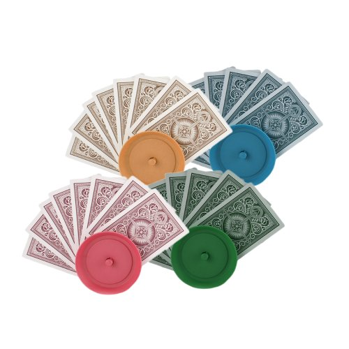 Set of 4 Deluxe Round Colored Playing Card Holders - 1