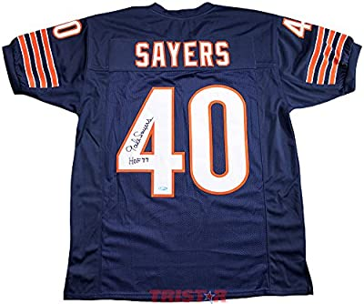 Gale Sayers Signed Autographed Chicago Bears Custom Jersey Inscribed HOF 77 TRISTAR COA
