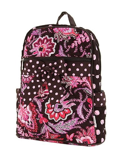 Medium Quilted Floral Backpack Brown