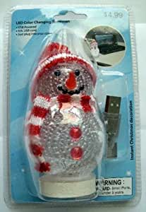 USB Powered LED Color Changing Snowman