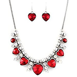 Red Crystal Heart Necklace and Earrings Set