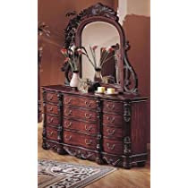 Saillans Solid Wood Fully Assembled Dresser & Mirror Cherry Finish