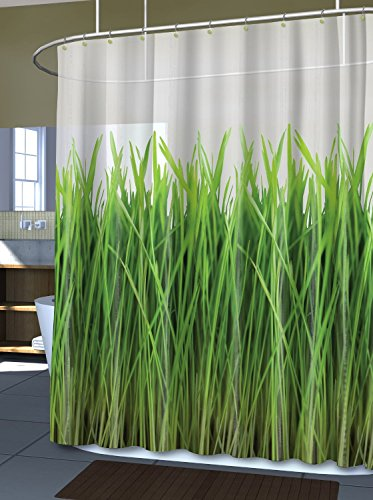 Inside the Meadow Green Grass Eco PEVA Curtain - White, 70 x 72 the bloody meadow