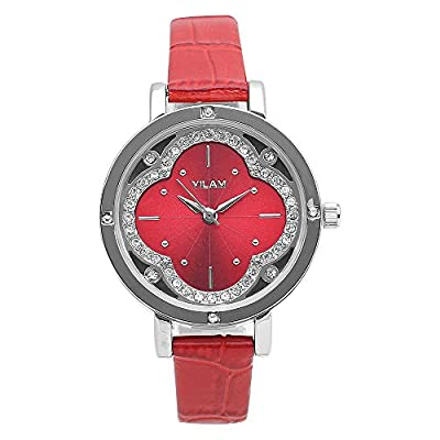 Fashion Red Leather Strap Casual Wrist Watches For Ladies With Rhinestone