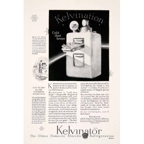 1927 ad kelvinator refrigerator household appliance