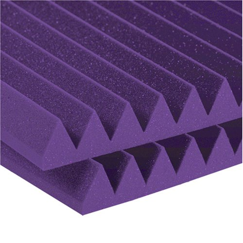 Auralex Studiofoam Wedges 2 Inches Thick And 2 Feet By 4 Feet Acoustic Absorption Panels, Purple (12 Panels)