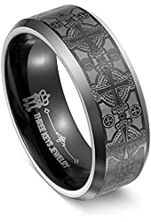 Valentine's Day Big Sale! Three Keys Jewelry 8mm Men Tungsten Carbide Ring Wedding Engagement Band Plat Beveled Edge Matte Frost for Medival Vintage Celtic Cross Size 6-14.5