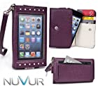 Expose: Purple Cover Wallet Cell Phone Wristlet Fits Samsung I8190 Galaxy S III mini + NuVur ™ Key Chain |ESAMEXU1|