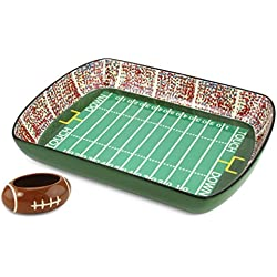 KOVOT Football Gameday Ceramic Chip And Dip Stadium - Removable Football Dip Dish Included