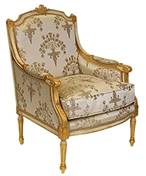 Casa Padrino Baroque Lounge throne Empire cream pattern / gold - wingchair - wing chair Tron chair