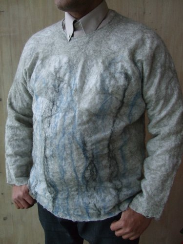Handmade by Mimi Pinto Luxury, Mens Wear Cardigan, Jumper, Top, in Merino Wool 'Ice Ice'