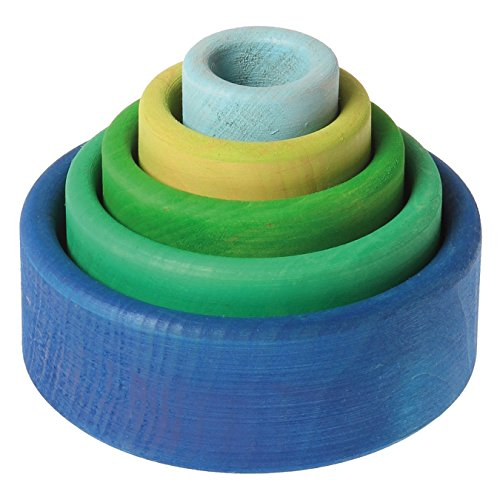 Grimm's Set of 5 Small Wooden Stacking & Nesting Rainbow Bowls, Ocean Blue - 1