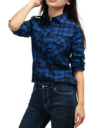 allegra-k-women-checks-roll-up-sleeves-flap-pockets-flannel-shirt-blue-m