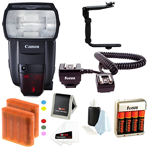Canon-Speedlite-600EX-II-RT-Flash-w-Batteries-Flash-Bracket-Bundle