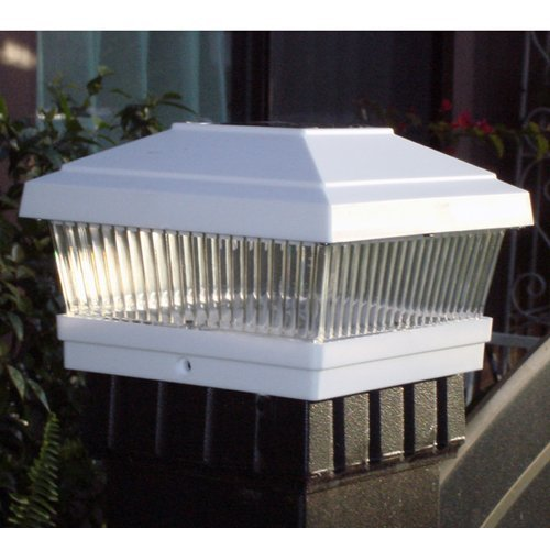 Gtmax Plastic White Square Fence Post Cap Solar Powered Led Light - (Set Of 6)