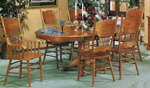 Buy 7pc Dining Table & Chairs Set Antique Oak Finish B000ORAB1W